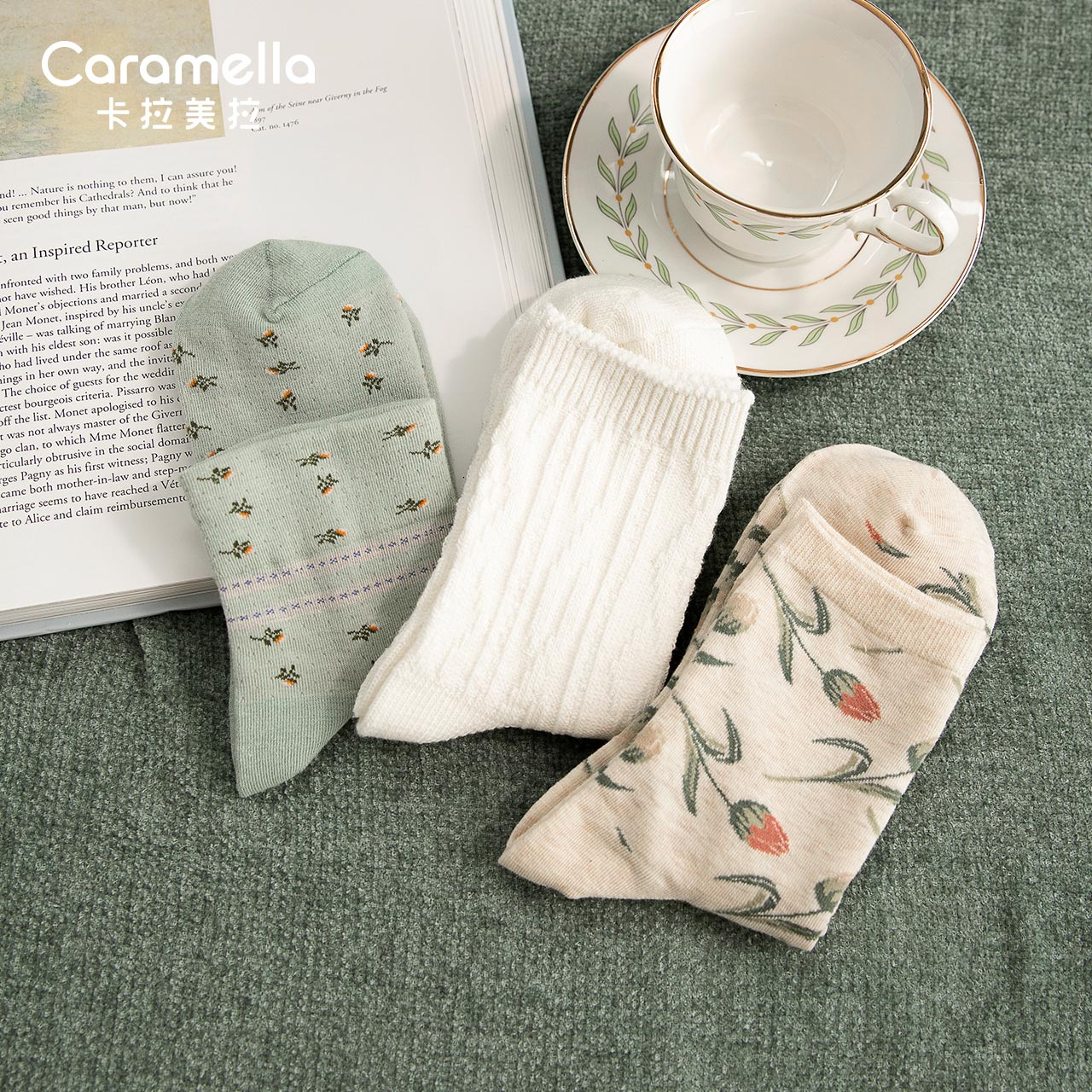 Caramella Artistic Retro Socks Women's Ins Trendy Spring and Autumn Long Tube Japanese Online Red Co