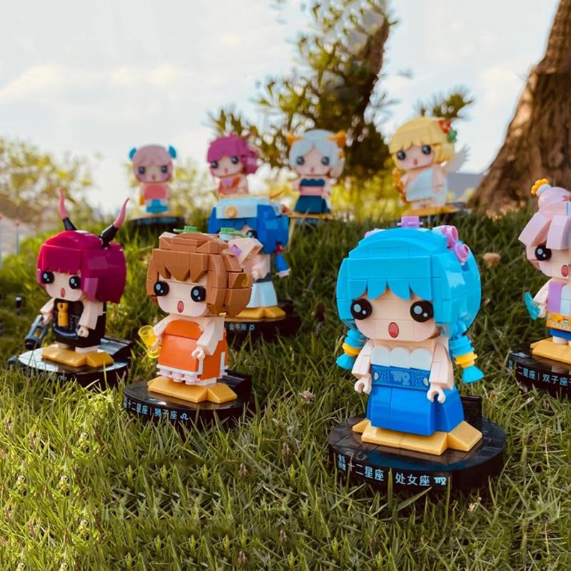 Конструктор 12 созвездий мультяшная кукла кавайные Овен Телец аниме персонажи DIY Сборные кирпичные куклы детские игрушки