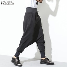 Women's Drawstring Trousers ZANZEA 2020 Fashion Drop Crotch Harem Pants Casual High Waist Long Pantalon Female Solid Streetwear