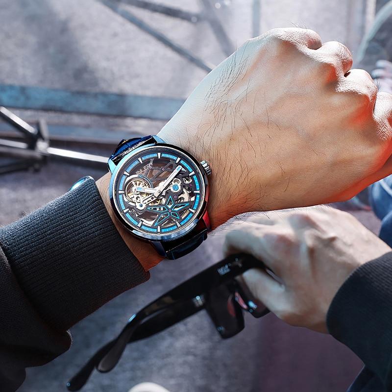JINLERY Luxury Men's Watch Fully Automatic Mechanical Wristwatch Brand Business Neptune Skeleton Dia