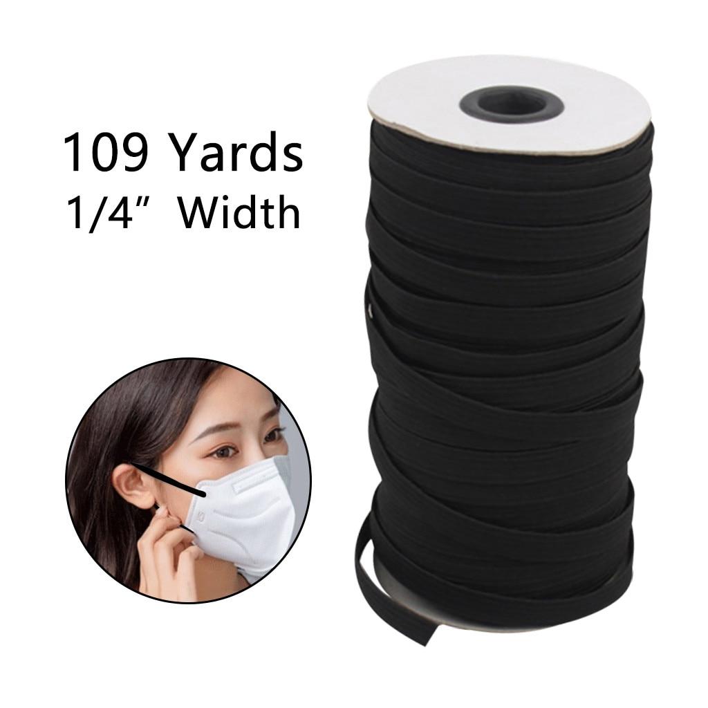109 yardas 1/8 pulgadas de ancho banda elástica trenzada cordón elástico de alta elasticidad tejido DIY máscara cubrecama Cuff multipropósito 67