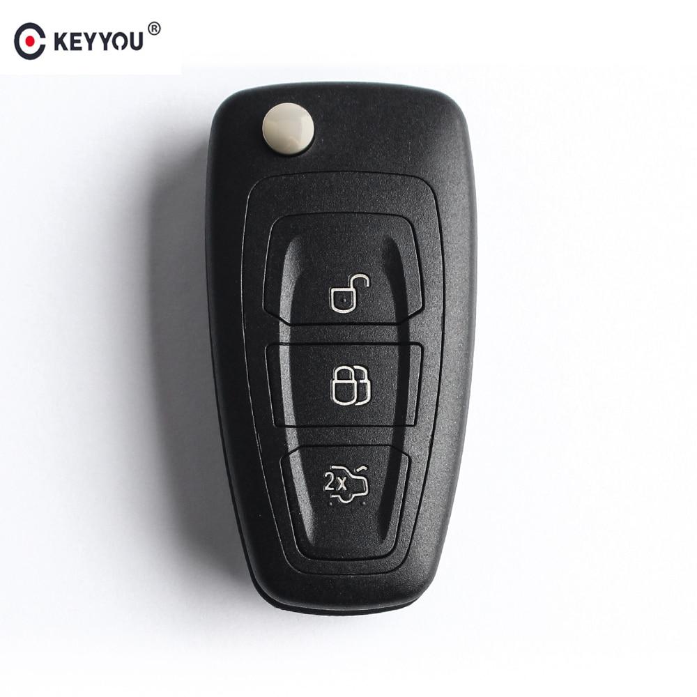 Раскладной чехол для ключей KEYYOU с дистанционным управлением, 3 кнопки для Ford Focus Mondeo Fiesta 2013, Fob, автомобильный чехол с лезвием HU101