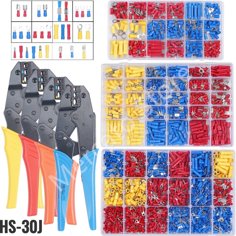 300pcs electrical wire crimp terminals kit insulated terminator spade butt connectors assorted terminales set 1200/720/300PCS Insulated Cable Connector Electrical Wire Crimp Spade Butt Ring Fork Set Ring Lugs Rolled Terminals Assorted Kit