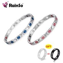 RainSo 2020 nouvelle mode Bracelet femmes magnétique sapin thérapie en acier inoxydable Bracelets Femme chaîne rose bleu accessoires