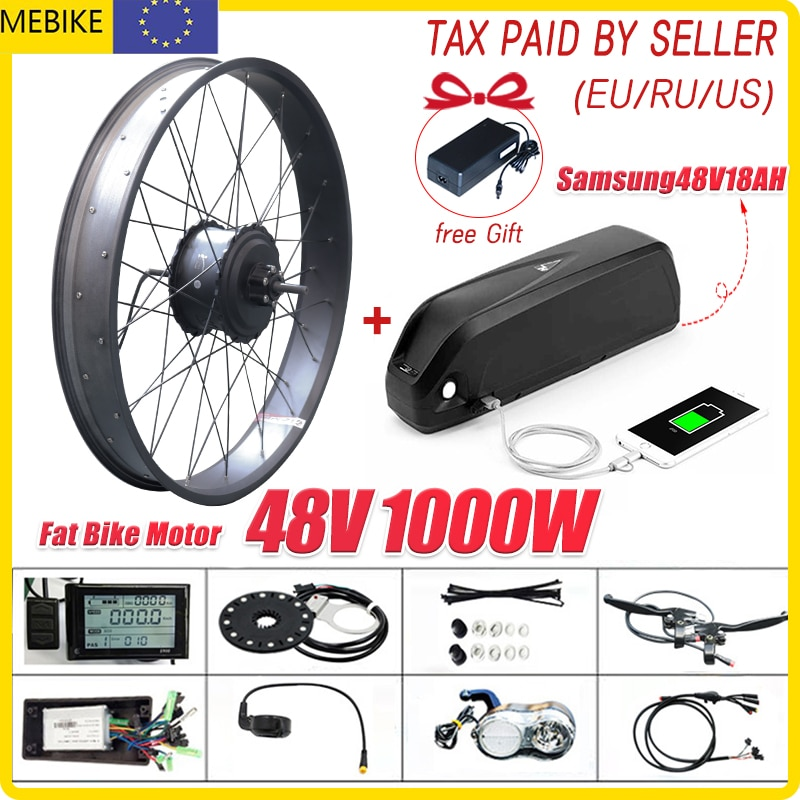 1000W neumático gordo E Kit de conversión de bicicleta para Fatbike bicicleta...