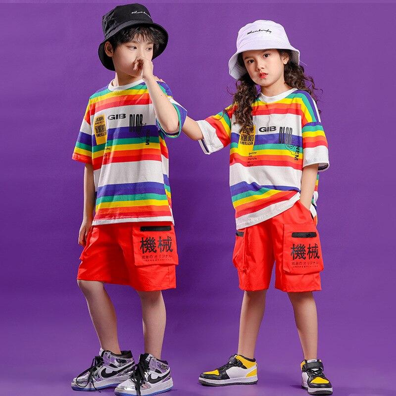 Ropa de hip-hop párr niño camiseta de raya grande pantalones cortos de...