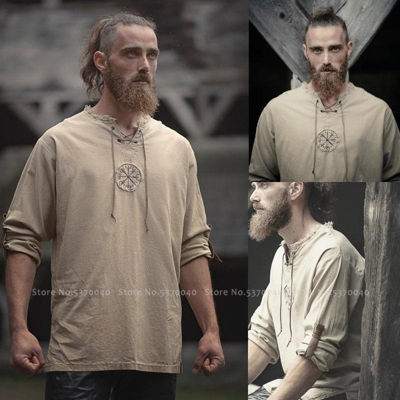 Medieval viking pirata saxon camiseta cosplay cavaleiro túnica masculino jaquetas vintage halloween carnaval festa t tops blusa