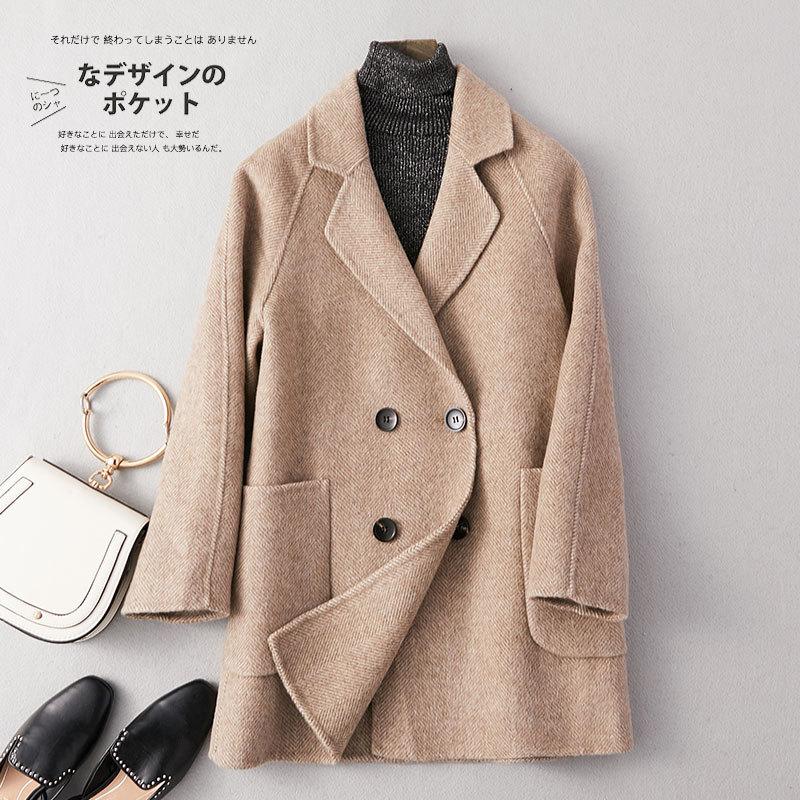Abrigo de invierno elegante Abrigo de Mujer ajustado 90% lana Abrigos Mujer...