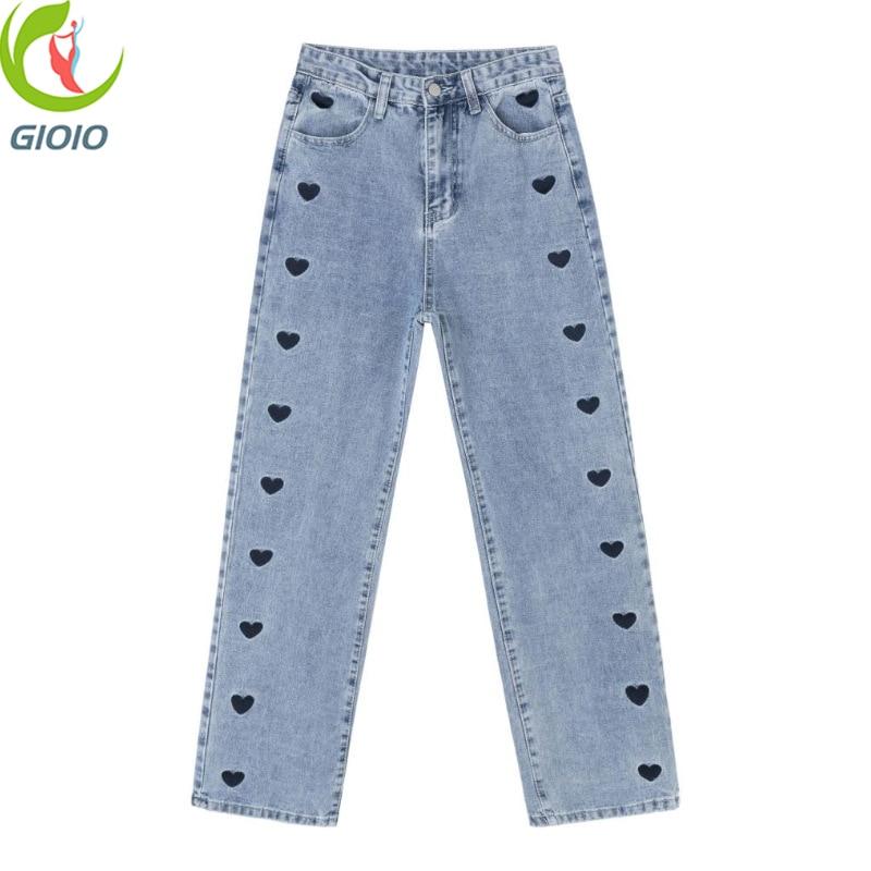 موضة هاراجوكو جينز على شكل قلب مطرز واسع الساق جينز نسائي خريفي جديد شارع ريترو عالي الخصر جينز مستقيم غير رسمي للنساء