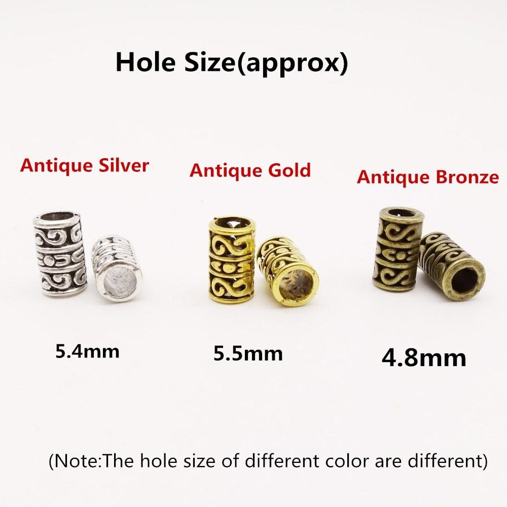5 uds.-20 piezas plata antigua/oro antiguo/bronce antiguo vikingo pelo trenzado dread barba rastas cuentas tubo anillos