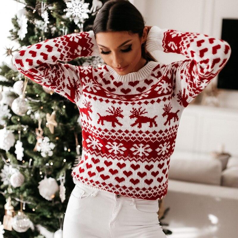 Повседневный Женский Рождественский свитер на осень и зиму, Женский вязаный джемпер, пуловер, свитер, свитера со снежинками и оленями, пулов...