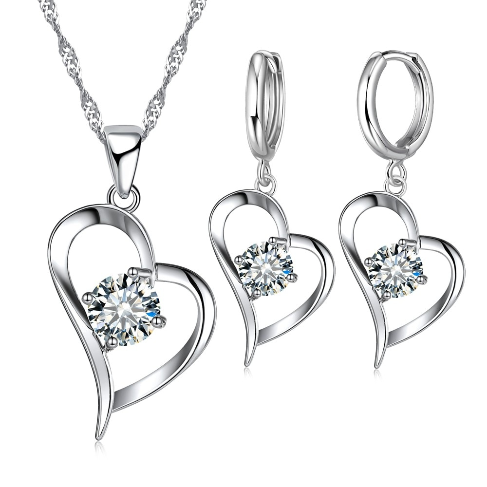 sa silverage 925 sterling silver vintage pendant chain necklaces water drop drop earrings jewelry sets for woman long earrings Sweet Trendy Cubic Zircon Heart Pendant Necklace Drop Earrings 925 Sterling Silver Jewelry Sets Wedding Supplies for Women