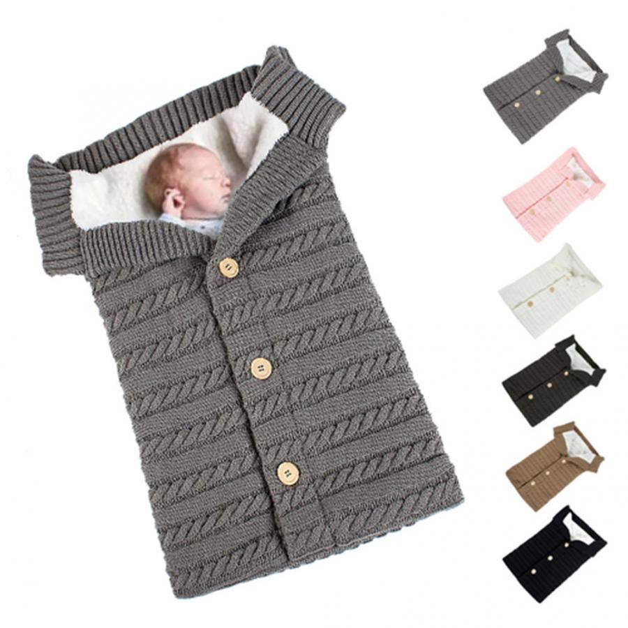 2019 Winter Knitted Thicken Sleeping Swaddle Baby Toddler Solid Warm Stroller Newborns Sleeping Bag Soft Envelope for Newborn