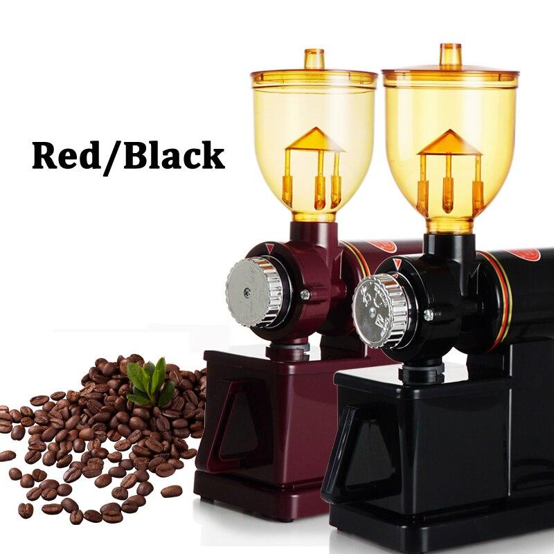 مطحنة القهوة الكهربائية, مطحنة بقدرة 220 فولت/110 فولت بنتوءات طحن مسطحة تستخدم لطحن حبوب القهوة ، متاحة باللونين الأحمر/الأسود ومزودة بقابس أو...
