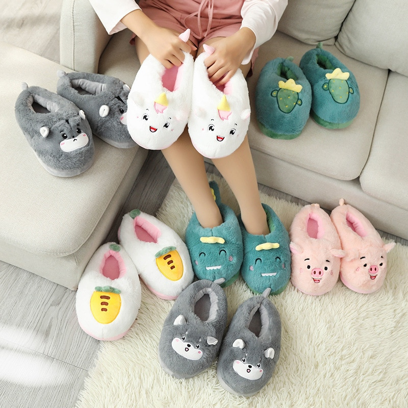 Winter Girl Cartoon Cotton Slippers Couple Cute Warm Plush Shoes Men's Indoor Comfortable Home Slides Women Soft Furry Slippers slippers for home use emoji soft cute cartoon slipper winter warm plush women shoes indoor home slippers for female women shoes