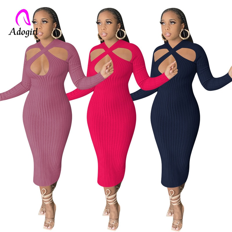 Plain Color Women Midi Dresses Bandage Hollow Out Shoulder Sheer Bodycon Vestidos 2021 Evening Night Club Party Dress Outfits adogirl pearls feather diamonds sheer mesh party dress women sexy v neck sleeveless bodycon midi night club dresses vestidos