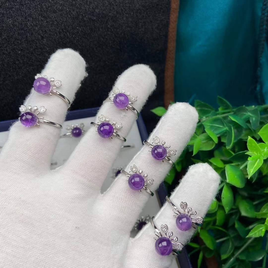 Natural Genuine Amethyst Ring S925 Pure Silver Inlaid WomenS National Style Mysterious Body Toutong Factory Wholesale
