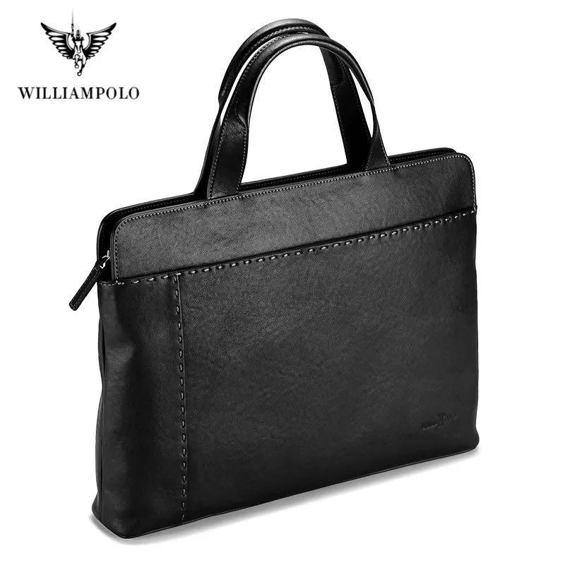 Williampolo nova maleta de negócios couro masculino casual bolsa de ombro masculino saco do mensageiro portátil masculino bolsa de viagem