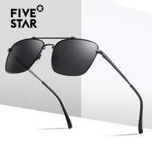 FIVE STAR BRAND Suqare Polarized Sunglasses Men Top Quality Oversize Metal Frame Pilot Driving Sun G