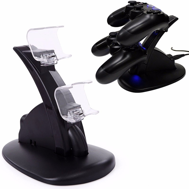 Контроллер Зарядное устройство Док-станция для светодиодный двойной USB PS4 Подставка для зарядки станция для док-станции для PS4 / PS4 Pro /PS4 тонки...