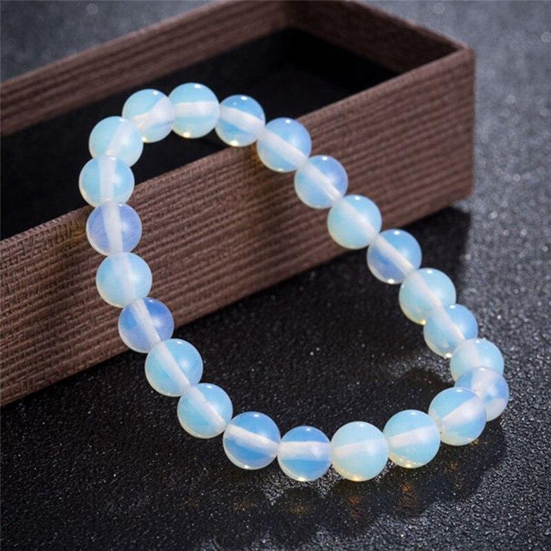 Женский браслет из натурального лунного камня, растянутый Круглый браслет из натурального камня, 8 мм, ювелирные аксессуары, 1 шт.