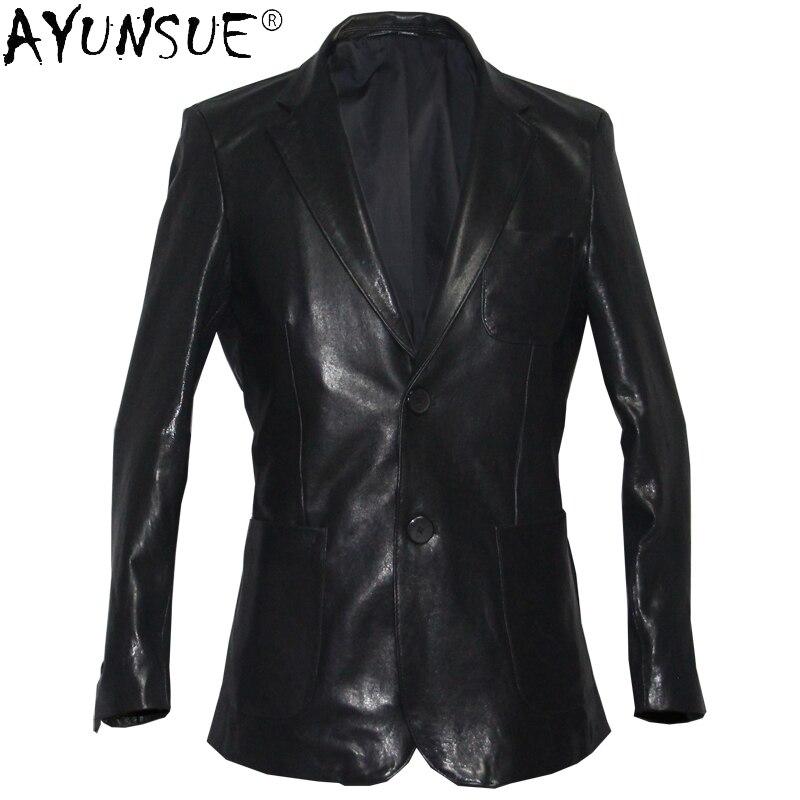 Ayunsu 2020 ملابس رجالية خريفي ملابس رجالي جاكيت جلد خروف أصلي بدلة رجالي احترافية ملابس رجالية Veste LXR430