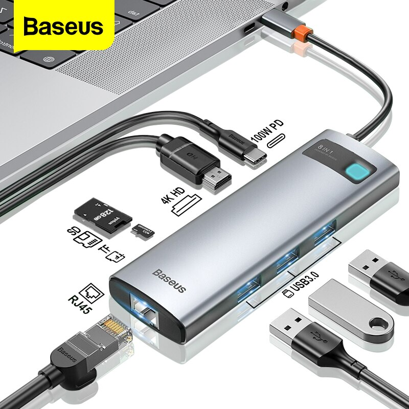 Baseus USB C HUB إلى HDMI-متوافق مع محول RJ45 قارئ بطاقة USB 3.0 PD 100 واط نوع C محطة الإرساء لماك بوك برو سطح باد