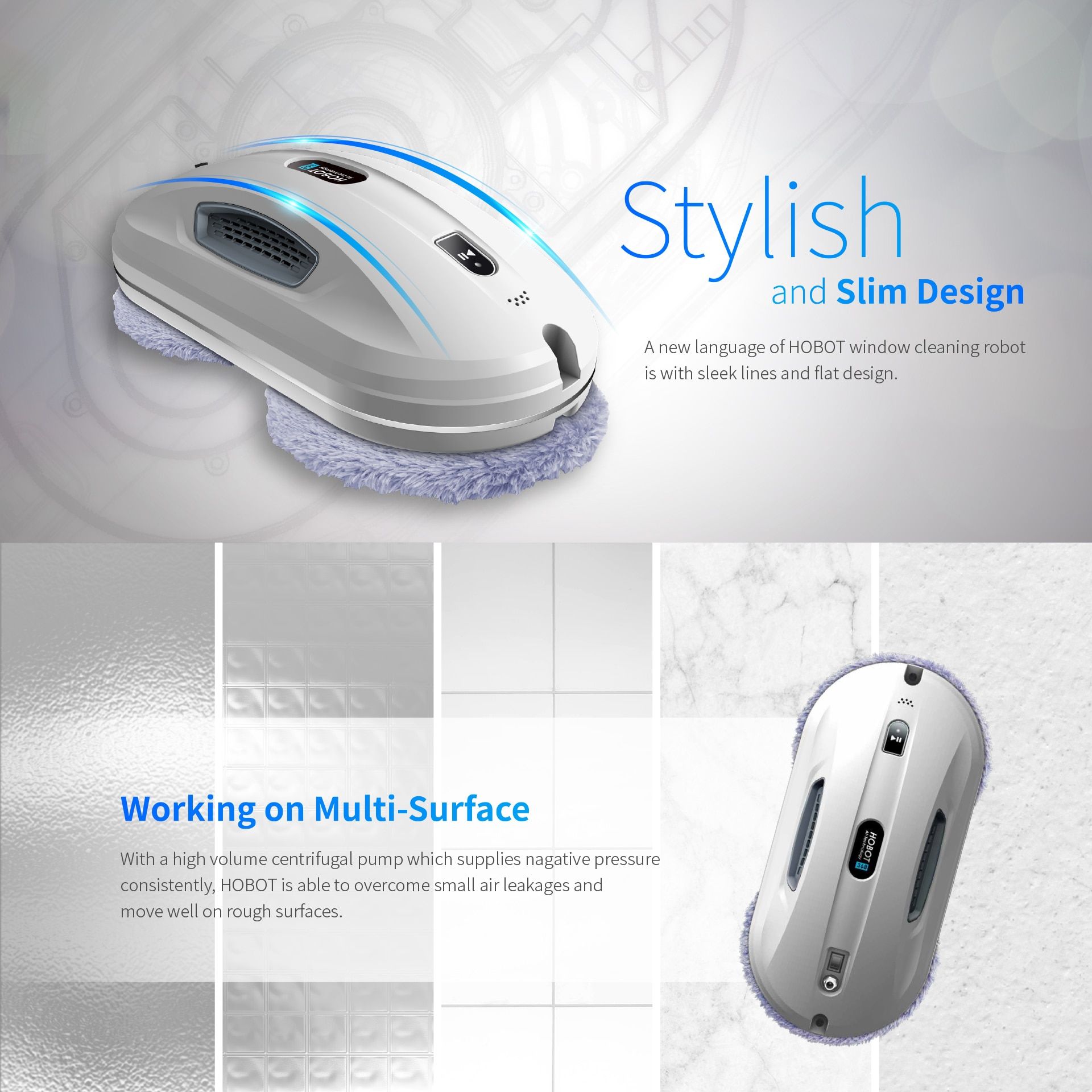 Salange Hobot 368 Electric Vacuum Magnetic Double sided Outside Glass Window Cleaner Robot with WiFi APP Control Water Spray