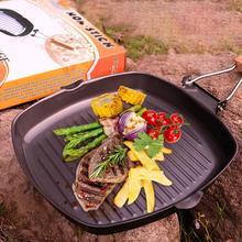 Poêle à Steak Non collant   De haute qualité avec poignée pliante en bois, poêle à frire carrée Portable, accessoire de cuisine