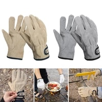 bbq gloves cowhide leather gloves heat fire resistant mittens outdoor warm gloves for baking forge bbq oven fireplace camping