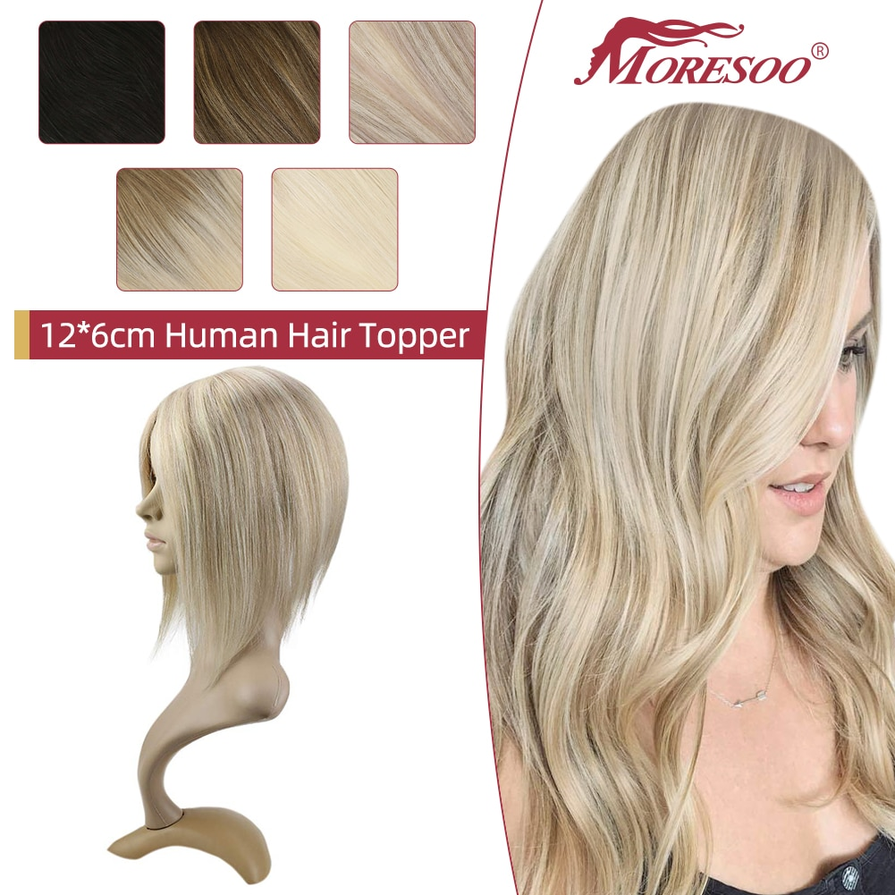 Moresoo Topper Hair Pieces for Women Human Hair Machine Remy Brazilian Hair Natural Straight Blonde #60 12*6cm Clip in Toupee
