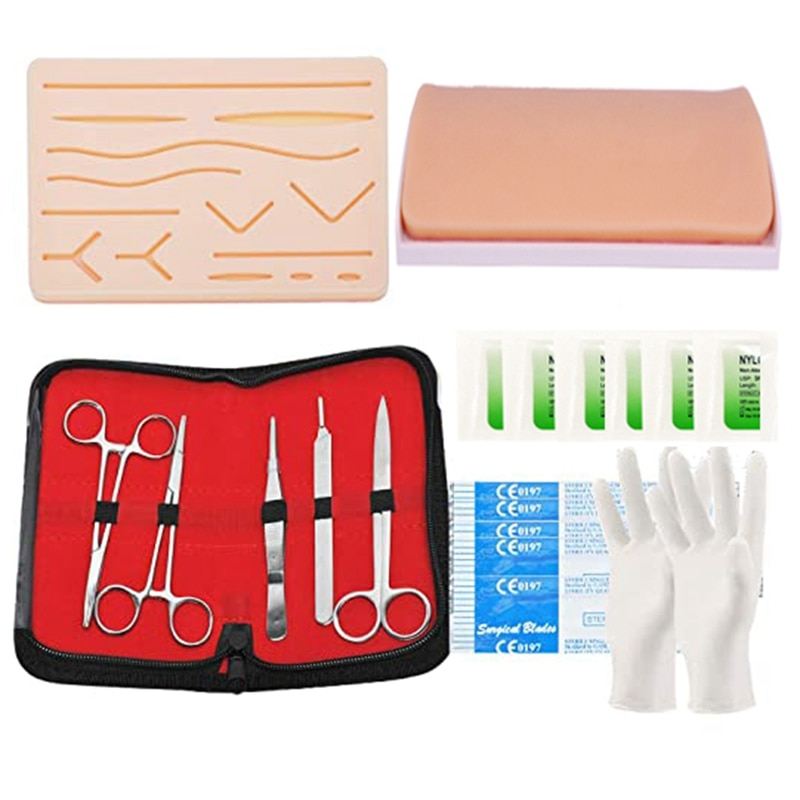 Suture Practice Kit Suture Practice Pad with Pre-Cut Wounds and Suture Tool KitSutures Threads for Nursing Students