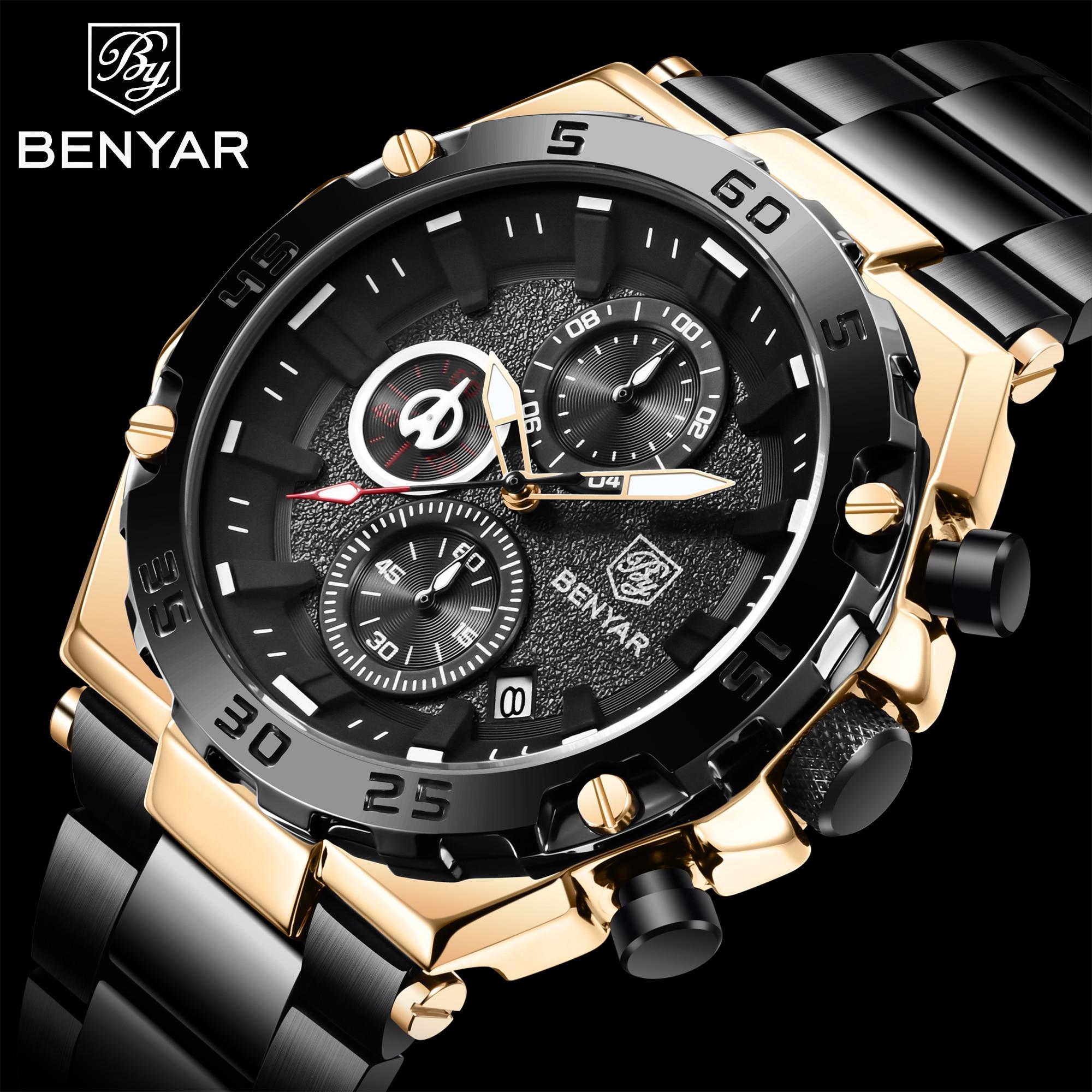 Benyar 2021 جديد العلامة التجارية الفاخرة ساعة كوارتز الرجال الرياضة متعددة الوظائف رمز الوقت الجدول 30 متر مقاوم للماء ساعة Relogio Masculino