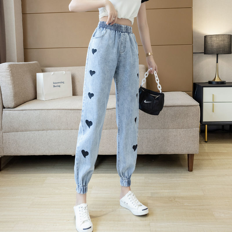 Women jeans 2021 spring heart shaped streetwear high waist wide leg trousers retro casual loose stra