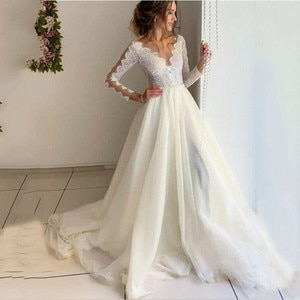 Wedding Dresses Vestido De Novia 2020 A-line V Neck Long Sleeves Bride Gown Lace Princess Wedding Dress With Belt Plus Size Robe