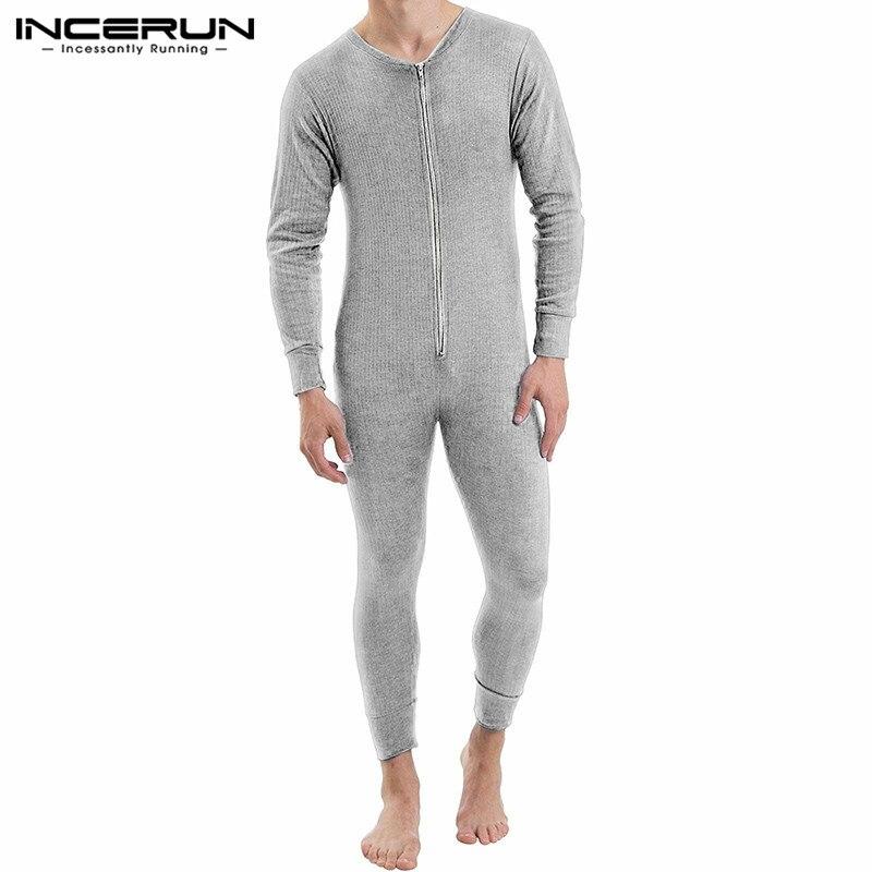 INCERUN الرجال بذلة منامة سحاب أكمام طويلة اللياقة البدنية 2021 بلون الترفيه رومبير الخامس الرقبة مريحة الرجال ملابس خاصة Homewear S-5XL