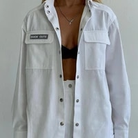 2021 autumn woman shirt jacket multi pockets jacket letter print chore coat single breasted turn down collar long sleeve blouses