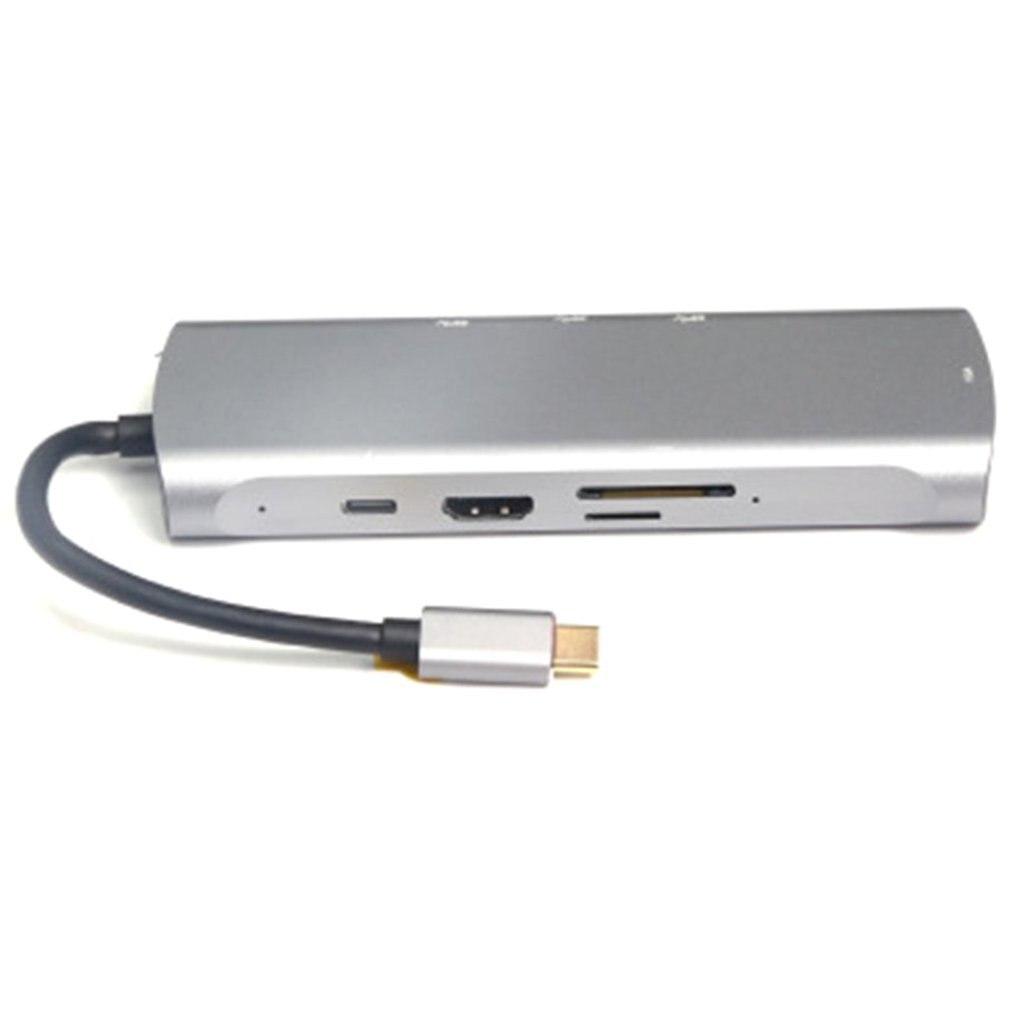 كابل تحويل من النوع c إلى HDMI متوافق مع VGA USB 3.0 TF PD محطة إرساء كابل تحويل 8 في 1