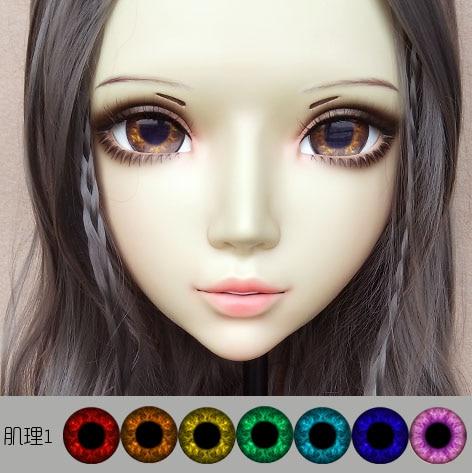 (DM066) فتاة حلوة الراتنج انمي ياباني Kigurumi قناع تأثيري لوليتا crossخلع الملابس نابض بالحياة BJD أقنعة العين اللون للاختيار