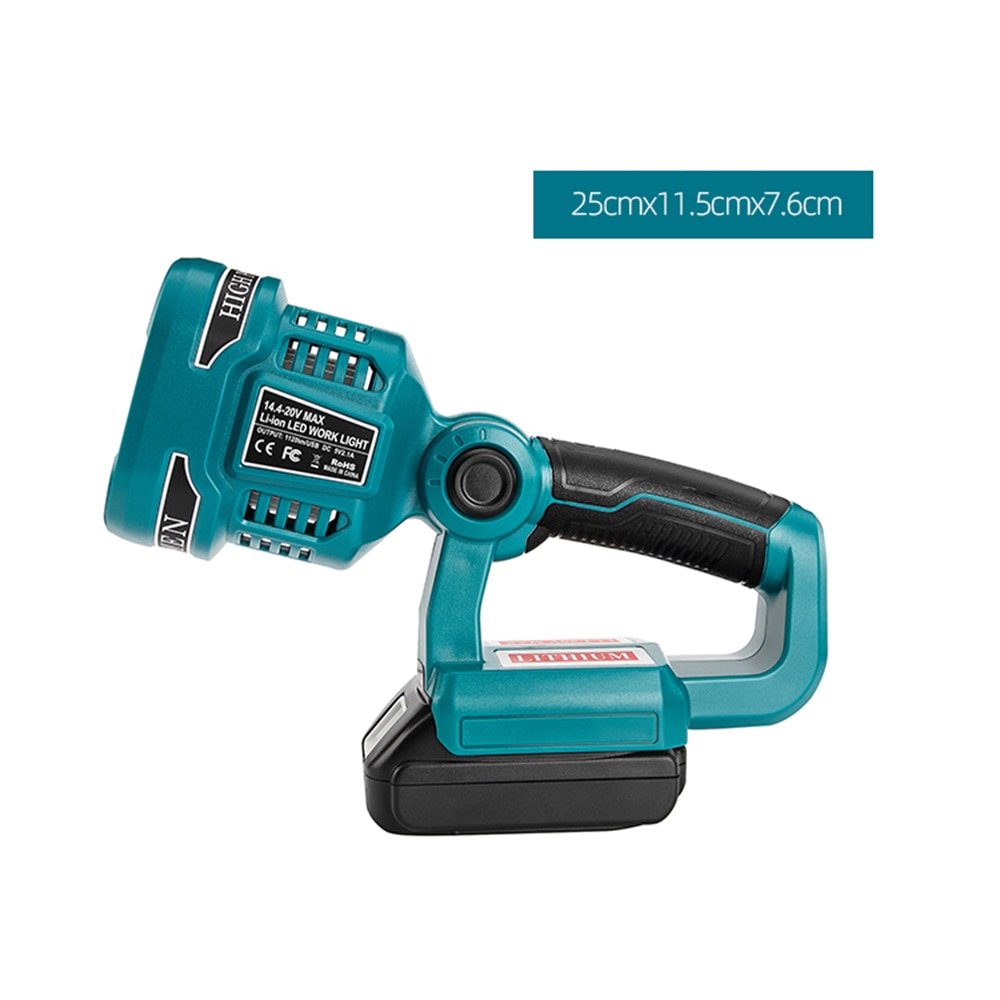 WAKYME 4 Modes Work Light 18/14.4V Cordless LED Flashlight with USB Outdoors Spotlight Light for Makita DML812 Without Battery enlarge