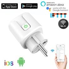 10A/16A ue wifi prise intelligente avec moniteur dalimentation, prise de courant intelligente sans fil wifi avec commande vocale Google Home Alexa