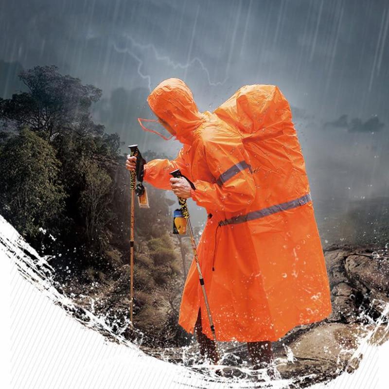 Unisex reflectante al aire libre mochila impermeable cubierta de una sola pieza lluvia Poncho capa chaqueta para senderismo Camping ciclismo
