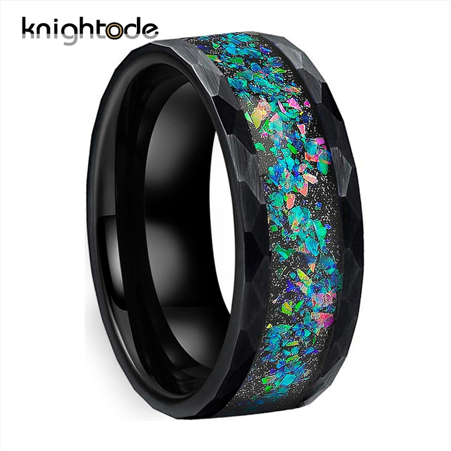 8mm Tungsten Carbide Hammered Rings Galaxy Series Opal Inlay for Lovers Wedding Bands Brushed Facets Available in Black/Silvery