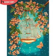 HUACAN peinture à lhuile oiseau dessin sur toile peint à la main peinture Art photos par numéro fleur Kits décoration de la maison bricolage cadeau