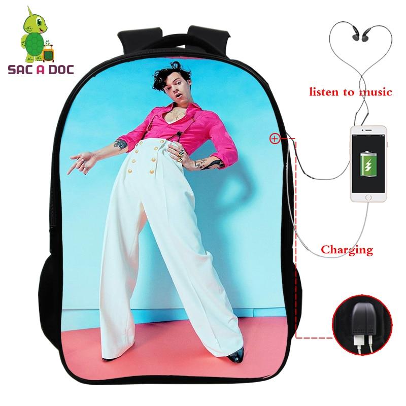Mochila feminina harry estilos mochila feminina morral hombre sacos de escola para adolescentes meninas carga usb dos homens portátil mochila