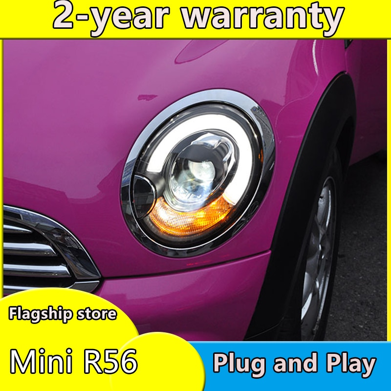 Diseño de coche para BMW Mini R56 faros 2006-2013 Mini R56 LED faro DRL lente doble haz H7 HID Xenon bi xenon lente