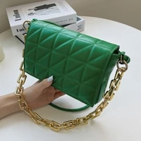 womens thick chain crossbody bag green quilted shoulder bag small flap leather handbags female embroidery thread messenger bag