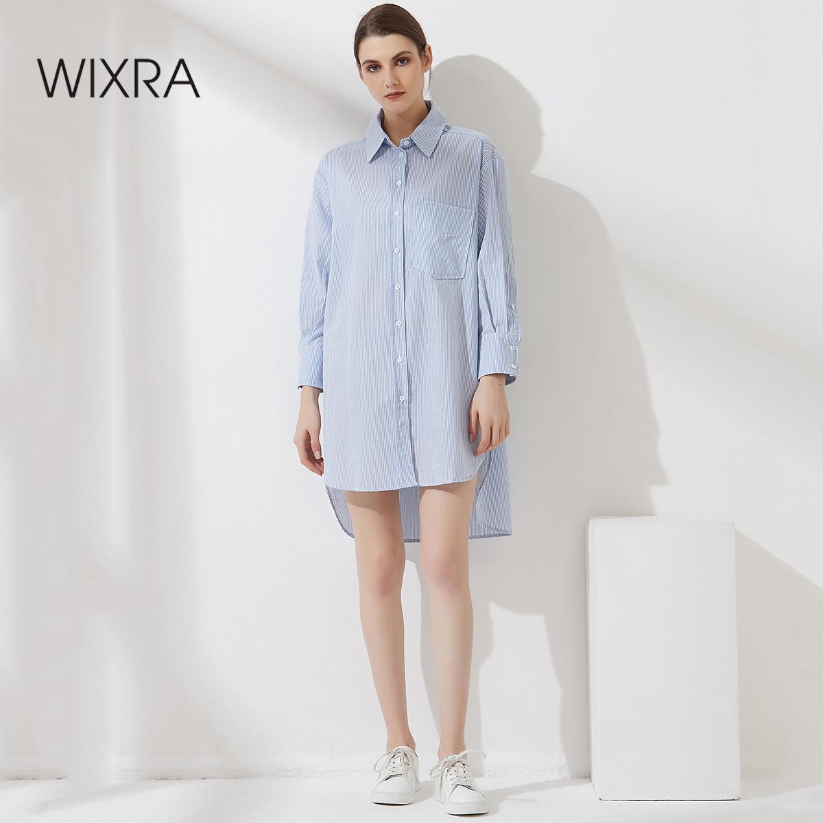 Wixra إمرأة بلوزة مخططة المتضخم كم طويل رفض طوق جيوب قمصان الخريف الربيع النمط الفرنسي بلايز سيدة