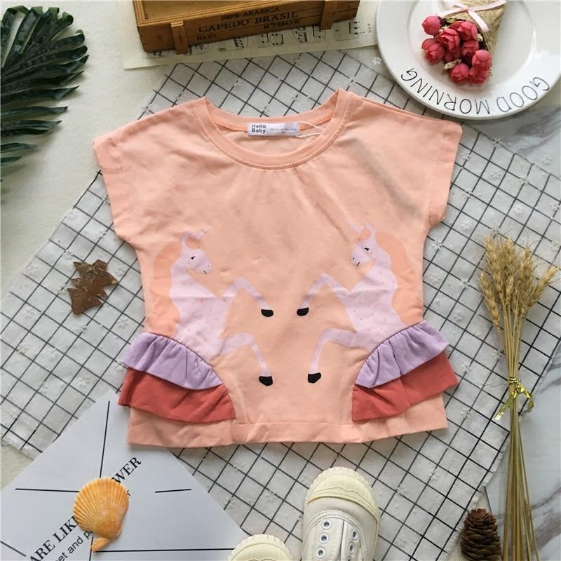 Tonytaobaby Summer New Female Baby Unicorn Stereo Short-Sleeved T-shirt Girls Short-Sleeved T-shirt