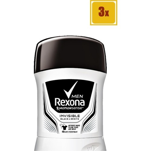 Deo Stick - Rexona Invisible Black + White Men - 50 ml - 3 Pcs недорого